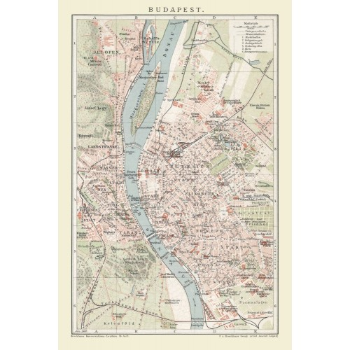 Antique Wall Map of Budapest