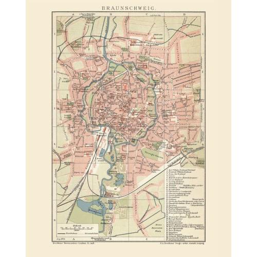 Antike Wandkarte von Braunschweig