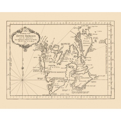 Antique Svalbard Map: Canvas Print