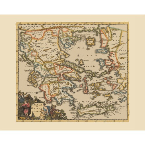 Greece Historical Map Printed on Canvas
