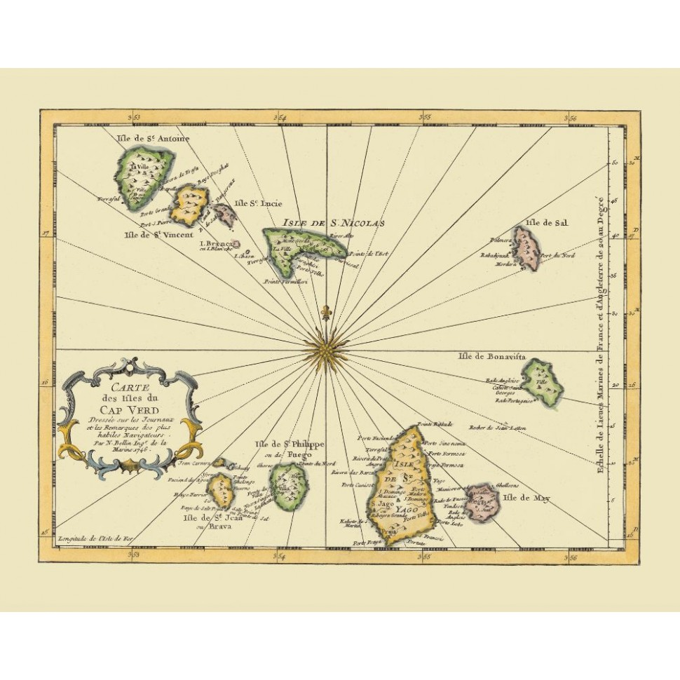 Cape Verde Historical Map for Wall Decor Printed on Canvas on