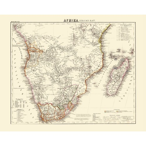 Wall Decor - Vintage Map of  the Sub-Saharan Africa