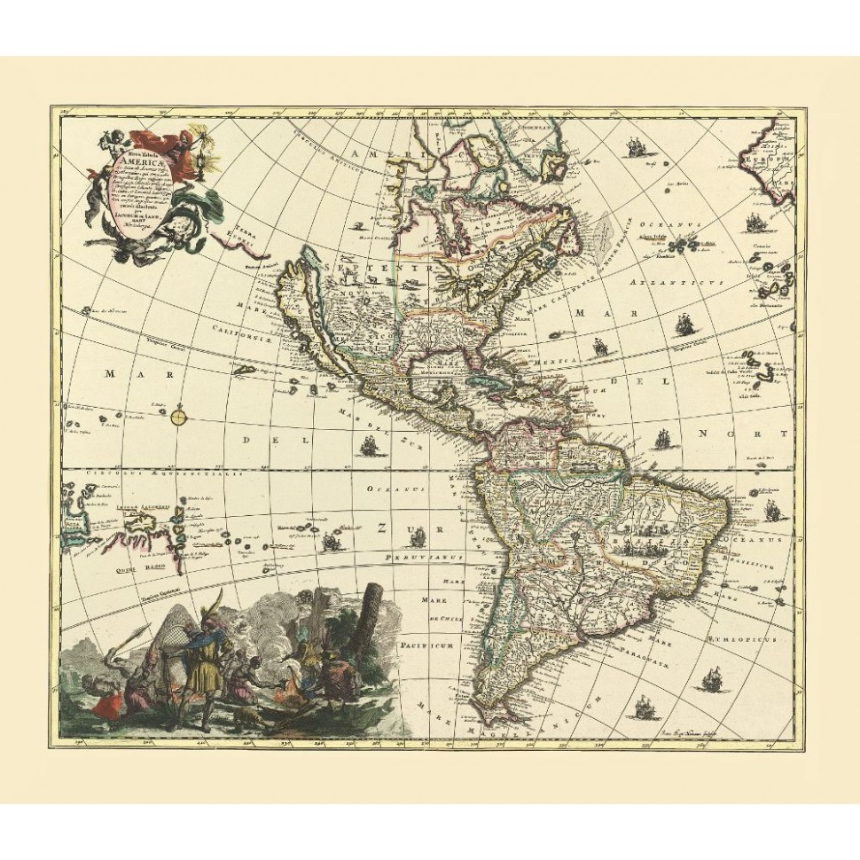 Old Map Reproduction of America - Printed on Canvas