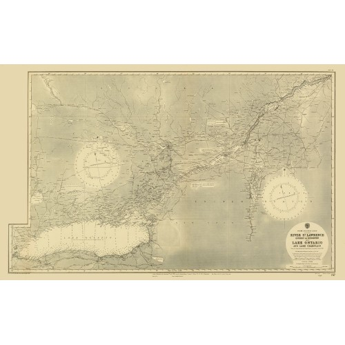 Quebec and Ontario: Antique Wall Map
