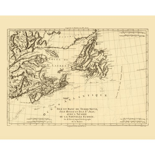 Antique map of Newfoundland, Nova Scotia and Eastern Labrador