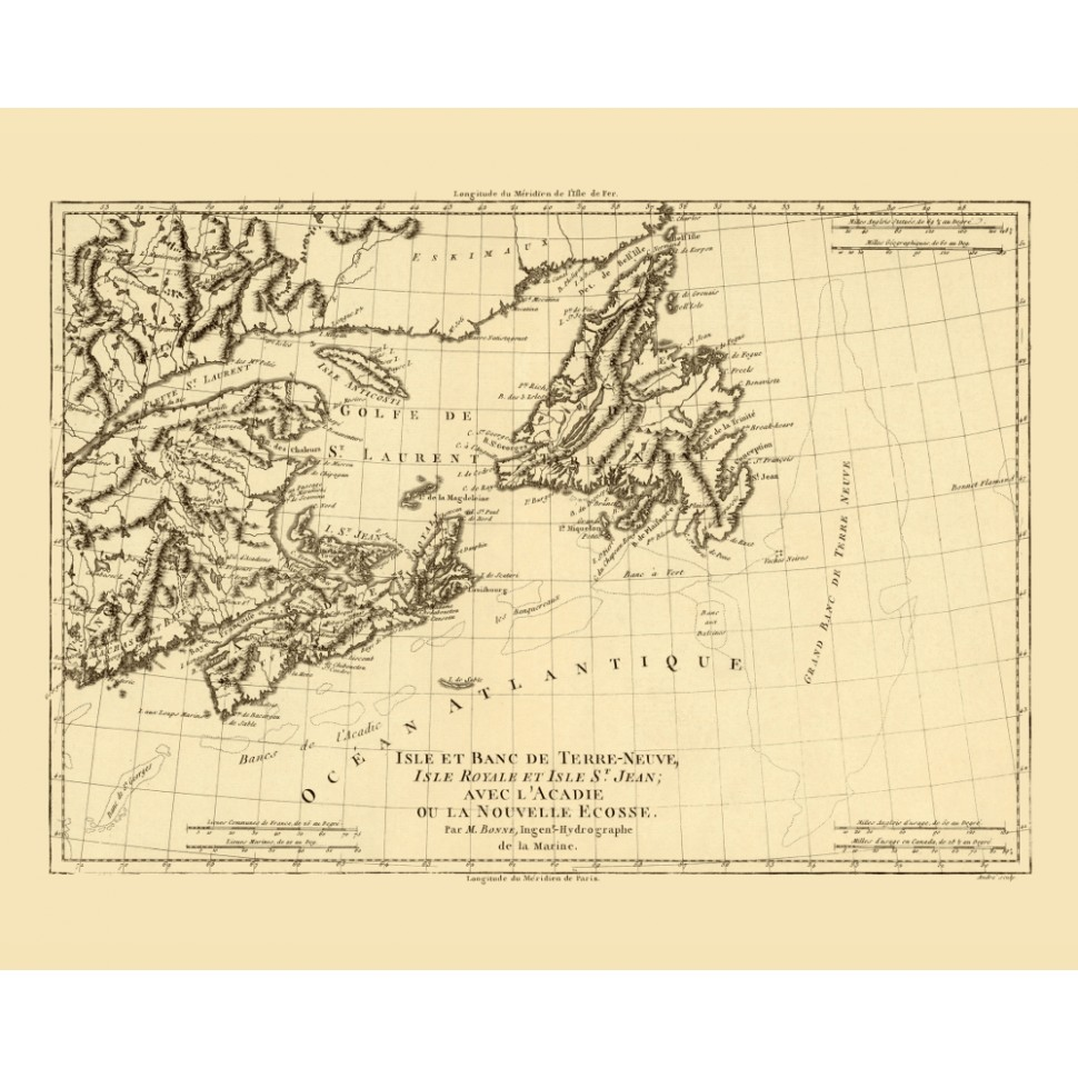 Atlantic Canada Antique Map Reproduction Printed On Canvas