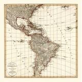 Vintage Map of Americas