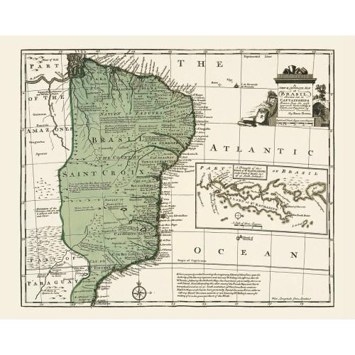 Brazil: Vintage Map Poster