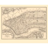 Antique wall map of New York City