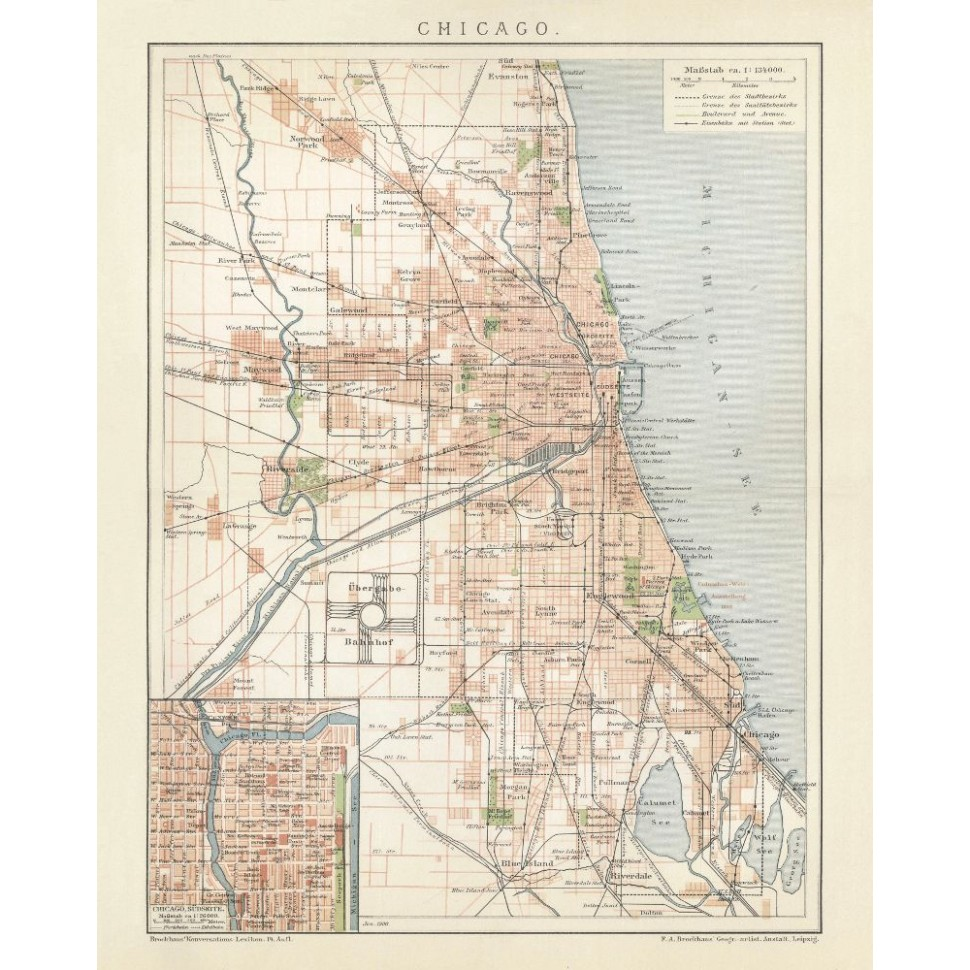 Chicago Map Canvas.Chicago Old City Print Antique Map Reproduction On Canvas
