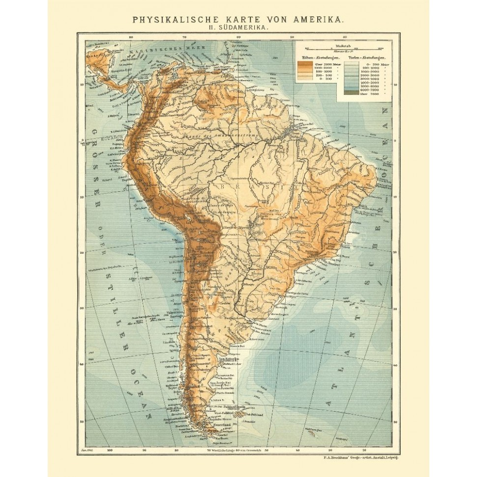 South America Old Map Poster - Antique Map Reproduction for Sale