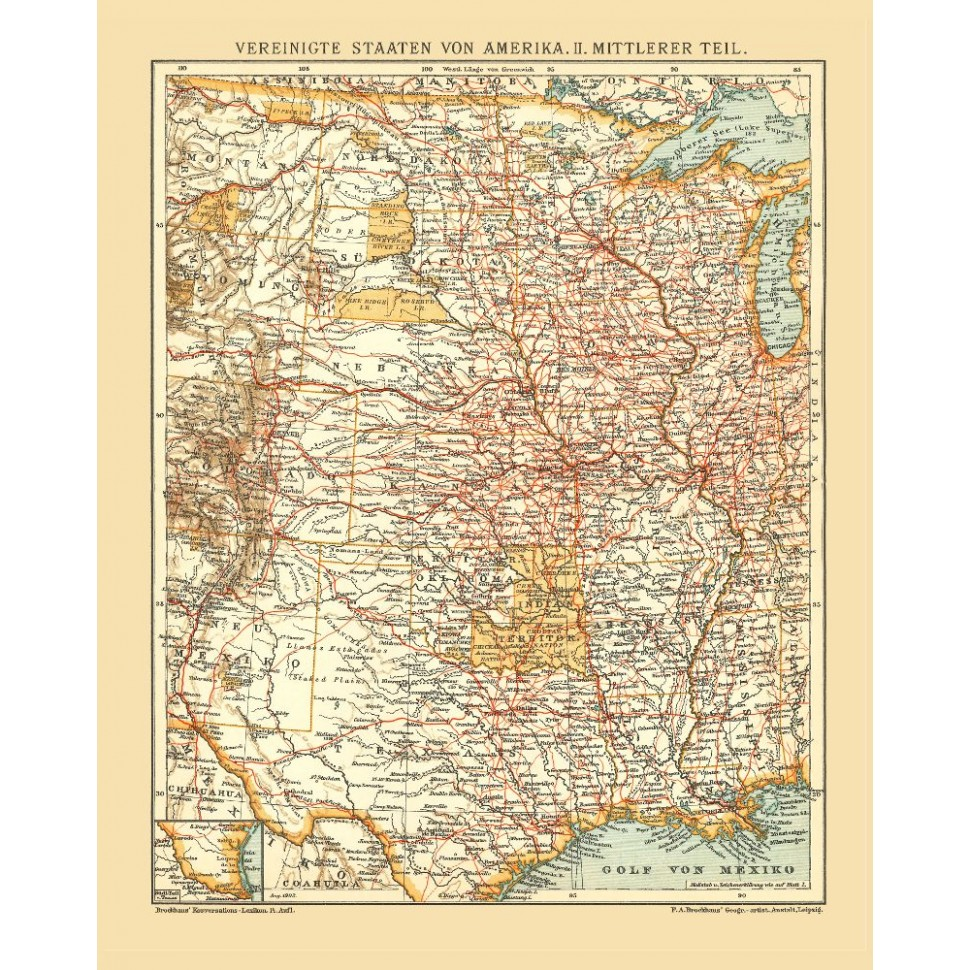 Central United States Old Map Print Usa Vintage Map Poster On Canvas