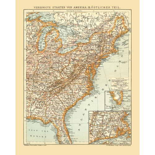 United States of America - Eastern Part - Vintage Wall Map