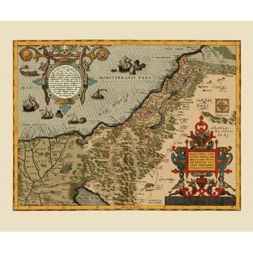 Old map of Palestine Printed on Canvas