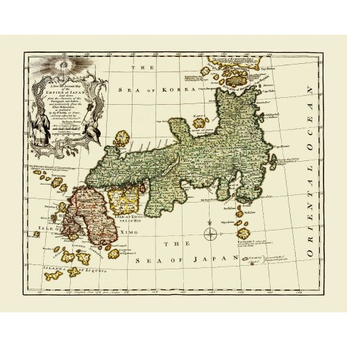 Japan Old Map Printed on Canvas
