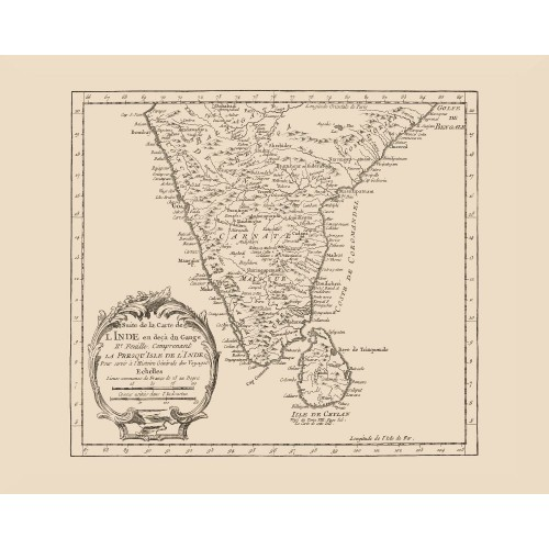 India Vintage Map Print