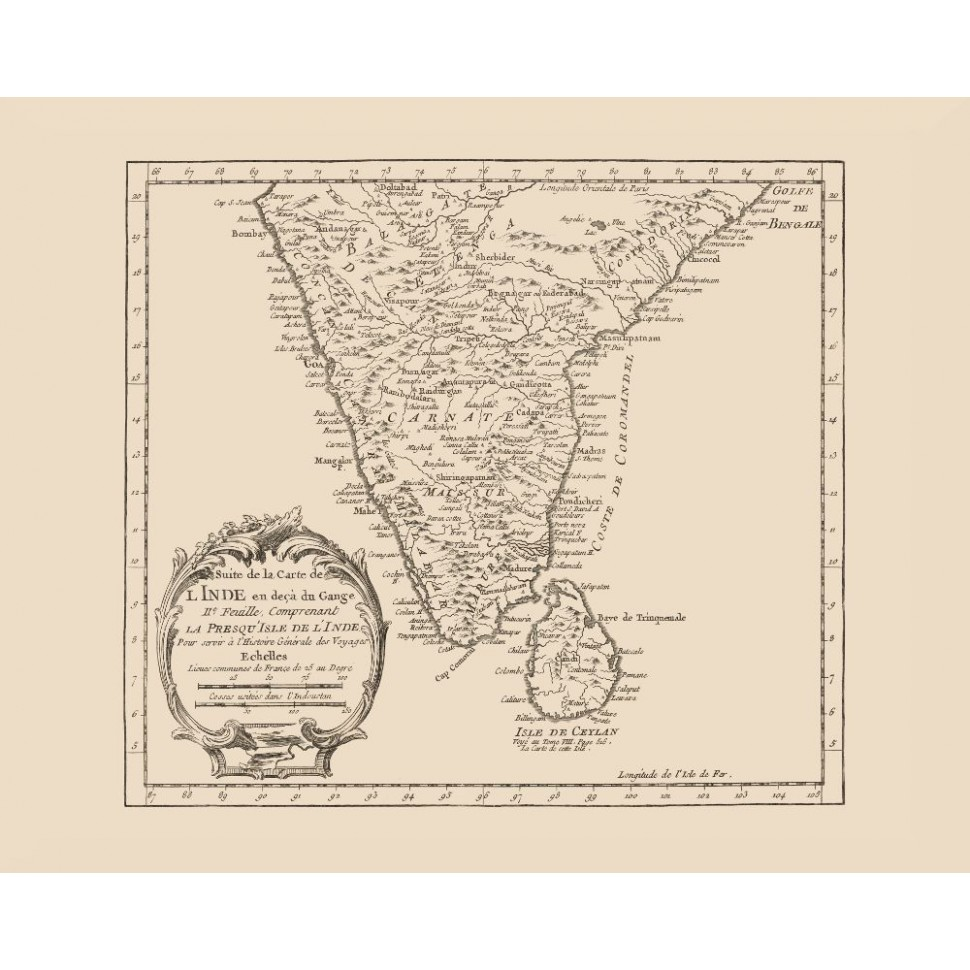 Vintage map poster of India and Sri Lanka Printed on Canvas