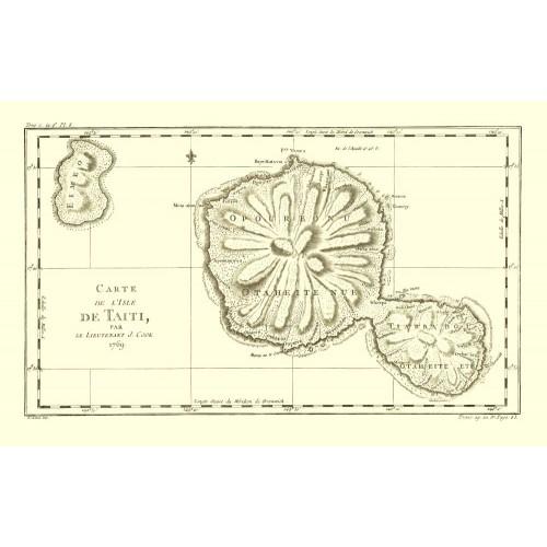 Tahiti: Vintage Map Print