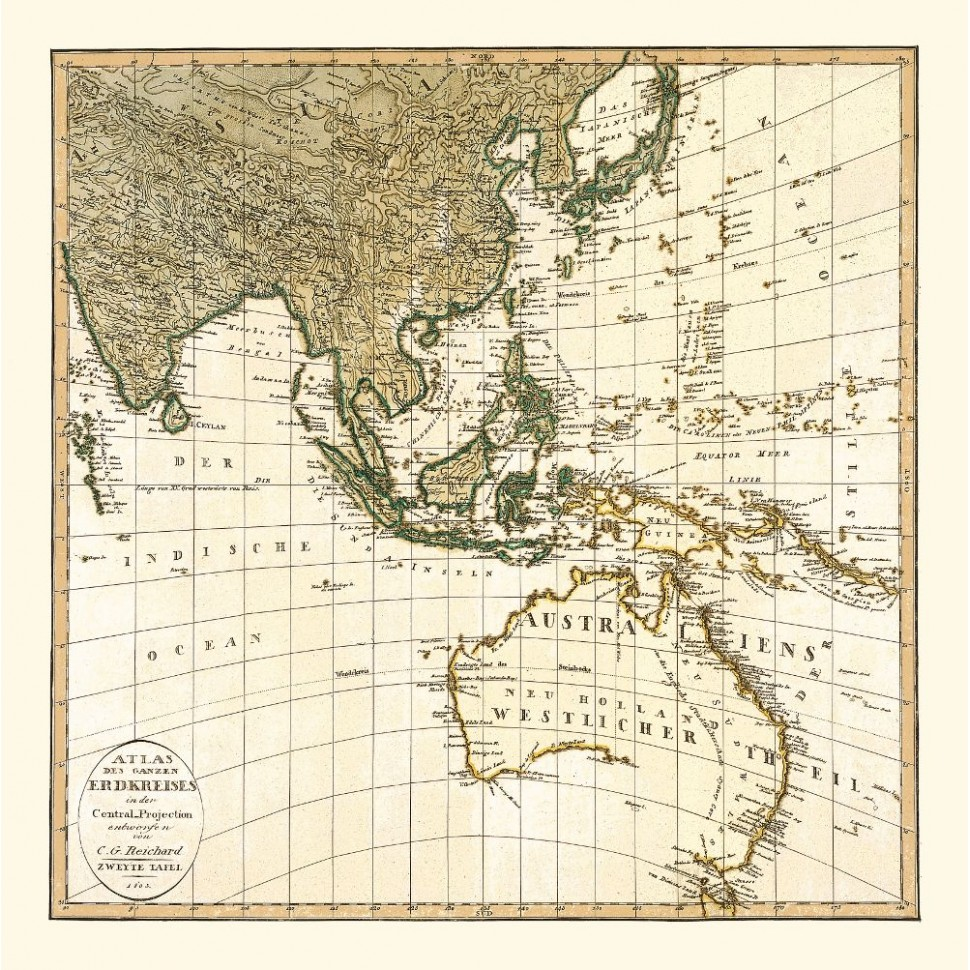 Map Of Asia Australia.Historical Map Of Southeast Asia And Australia Printed On Canvas