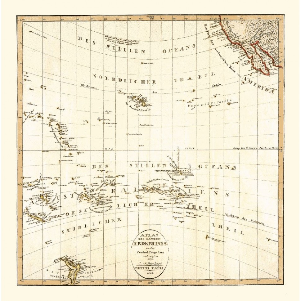 Antique Map of the Pacific Ocean