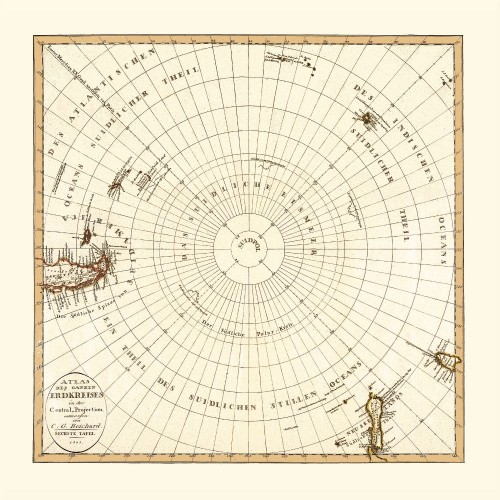 South Pole: Vintage Map Print