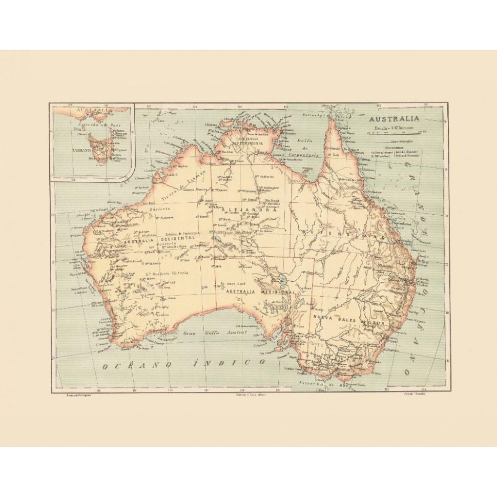 Australia Map Art.Ancient Wall Map Of Australia Map Art Printed On Canvas