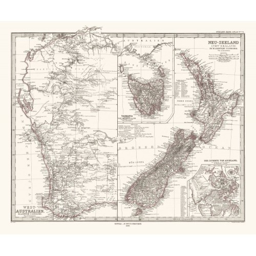 Antique map of Western Australia, Tasmania and New Zealand