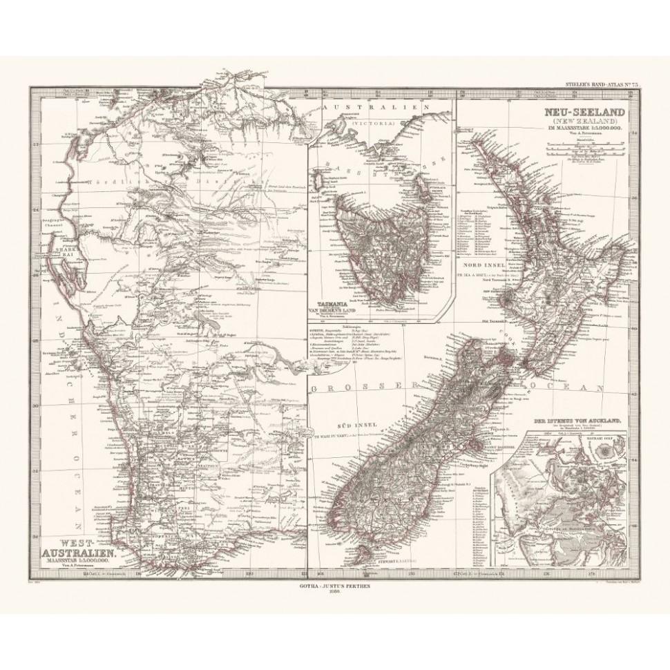 Map Australia Tasmania.Old Map Of Western Australia Tasmania And New Zealand Canvas Print