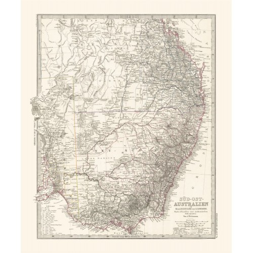 Antique Wall Map of New South Wales, Victoria and Queensland