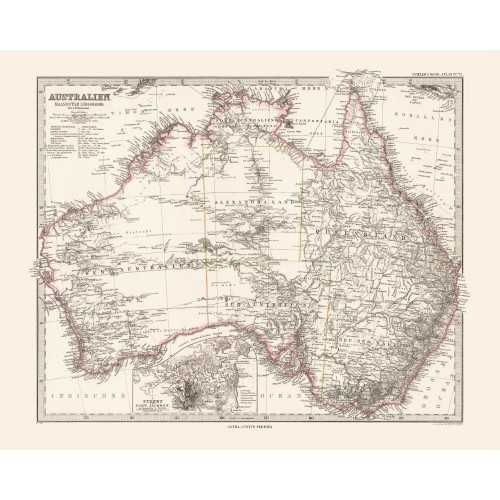 Antique Map Poster of Australia