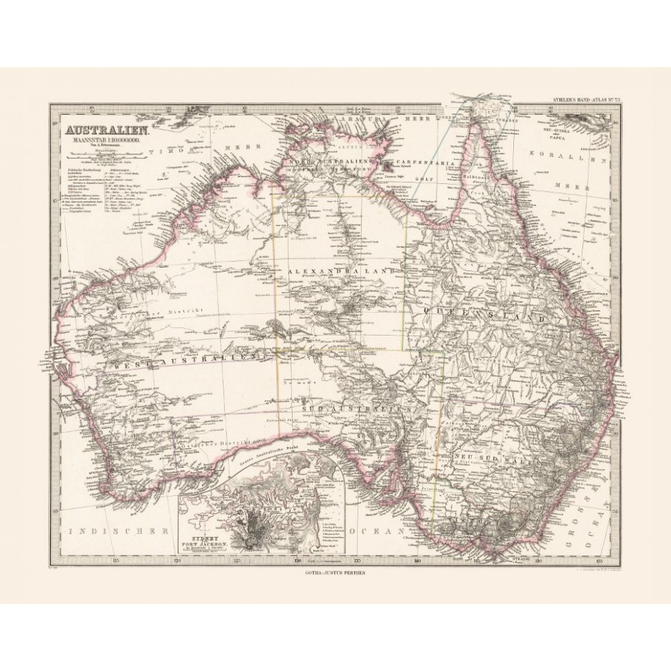 Australia Map Poster.Australia Old Map Printed On Canvas