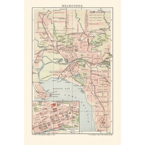 Antique Map of Melbourne