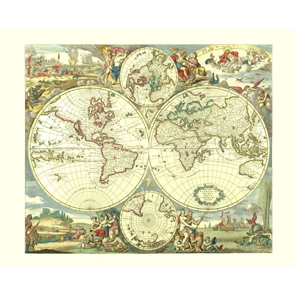 Vintage World Map Poster for Wall Decor Pinted on Canvas