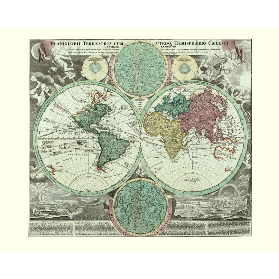 Old World Map Poster Printed On Canvas