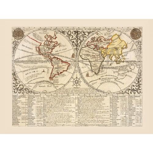 ingelijste oude wereldkaart