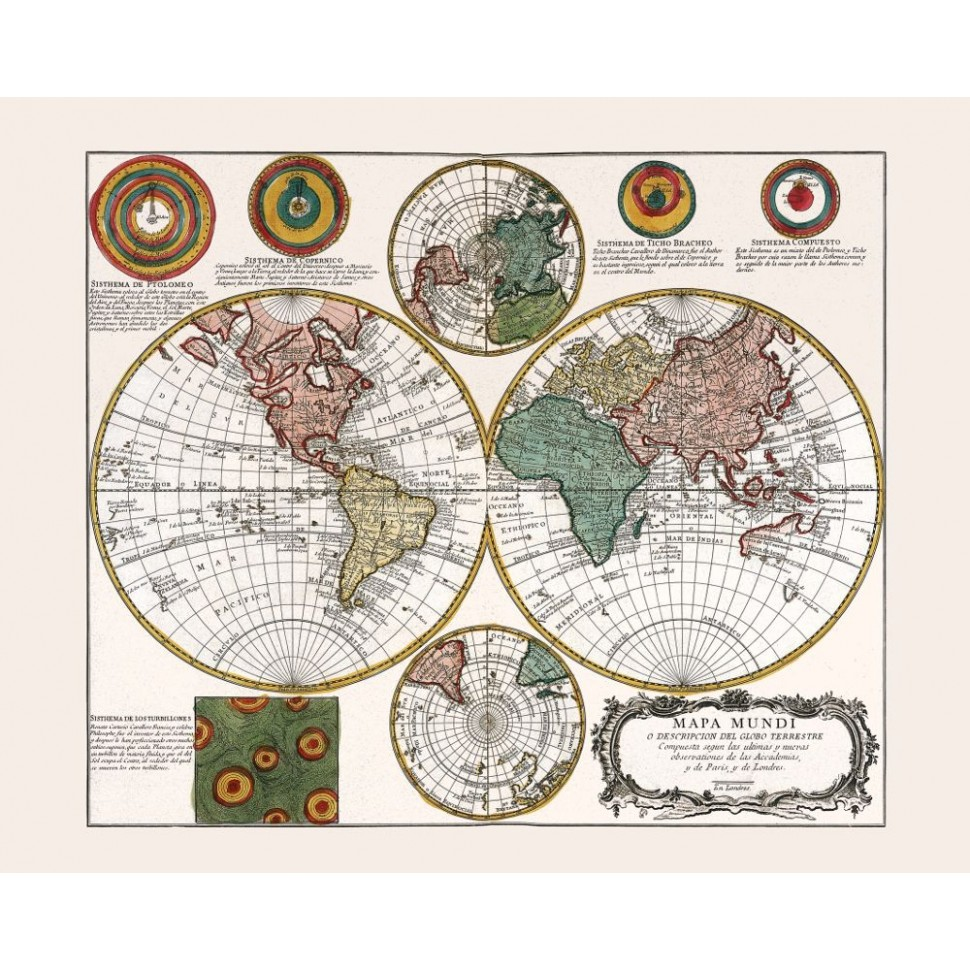 Ancient World Map Poster Canvas Print