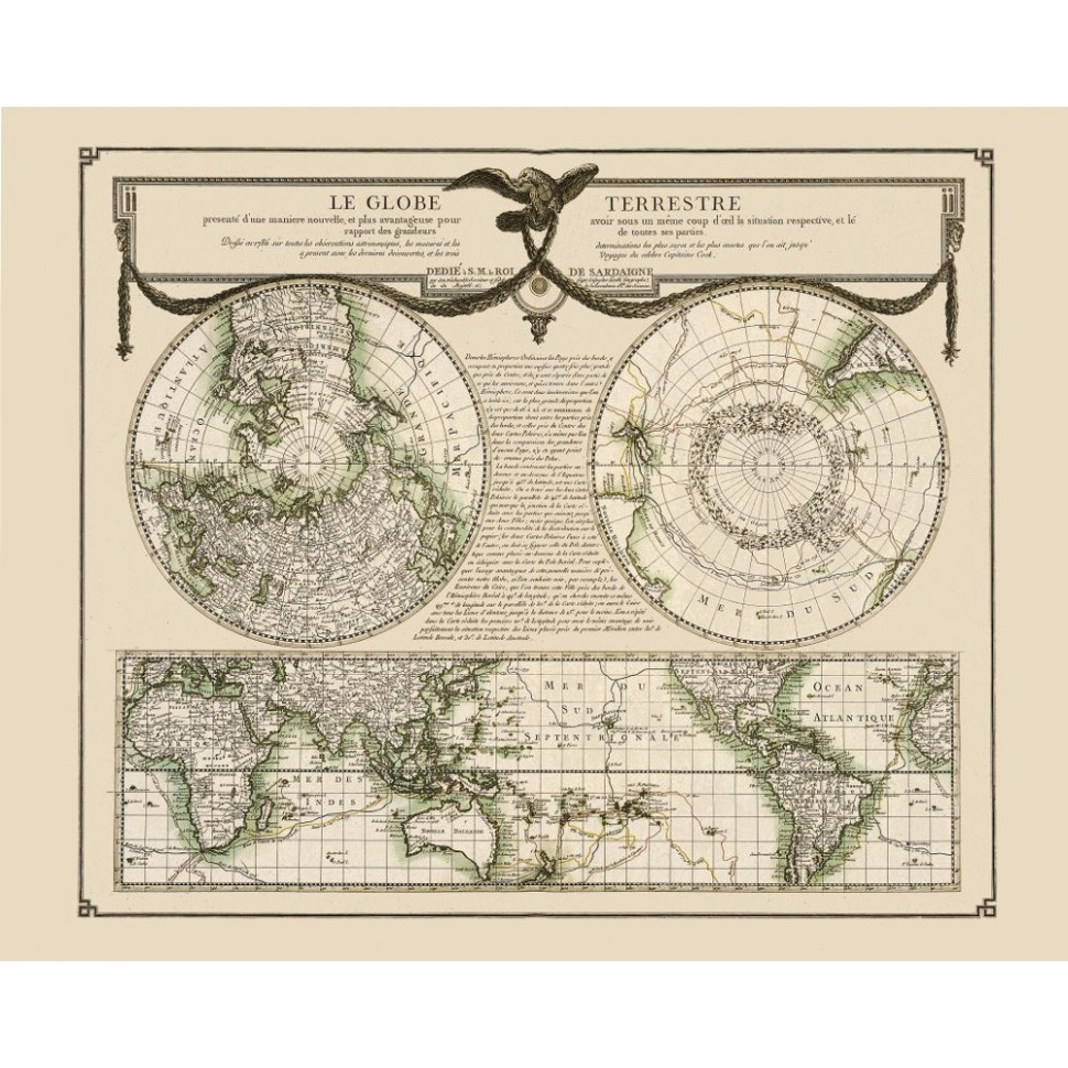 Antique Map Of World.Beautiful Old World Map Printed On Canvas