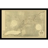 St. Lawrence River Antique Map Printed on Canvas