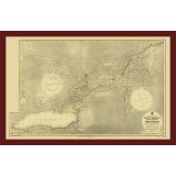 St. Lawrence River Old Map Printed on Canvas