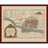 Santiago de Chile Framed Vintage Map