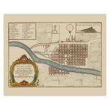 Santiago de Chile Ancient Map Printed on Canvas
