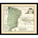 Vintage Brazil Map Printed on Canvas
