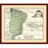 Antique Brazil Map Printed on Canvas