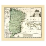 Old Brazil Map Printed on Canvas