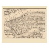 New York City Antique Map Printed on Canvas