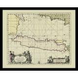 Vintage Java Map Printed on Canvas