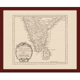 Historical Map of India Printed on Canvas