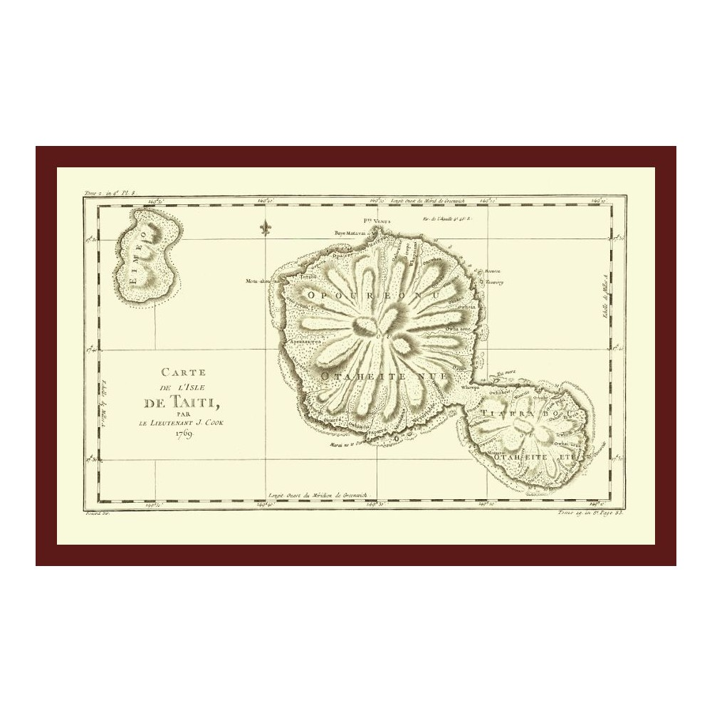 Tahiti Vintage Wall Map by Captain James Cook Printed on Canvas on map of carribean, map of bahamas, map of bali, map of malaysia, map of seychelles, map of brazil, map of austrailia, map of spain, map of new zealand, map of thailand, map of moorea, map of costa rica, map of switzerland, map of fiji, map of pacific ocean, map of kwajalein, map of south pacific, map of french polynesia, map of bora bora, map of hawaii,