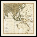 Southeast Asia and Australia Old Map Printed on Canvas
