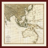 Southeast Asia and Australia Ancient Map Printed on Canvas